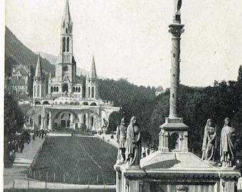 5 Vintage French Postcards Lourdes France Chapels Catholic Church Saint Carte Postale