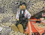 Vintage French Floppy Companion Clown - Handmade, Wooden head, hands shoes, Tartan Dungarees cap, Great fun, 8 inches, Office Desk mascot