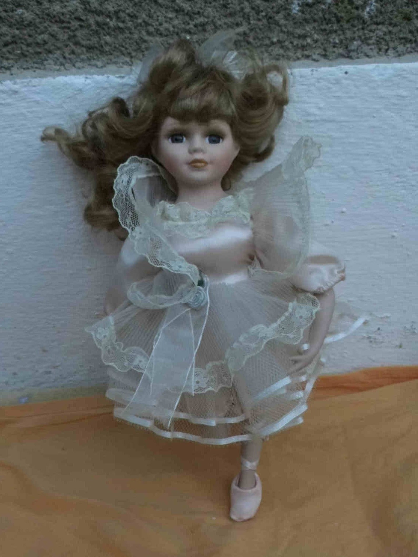vintage french ballet dancer doll, 13inches height, frilly dress, white satin pantaloons, ballet shoes rigid body, pretty hairan
