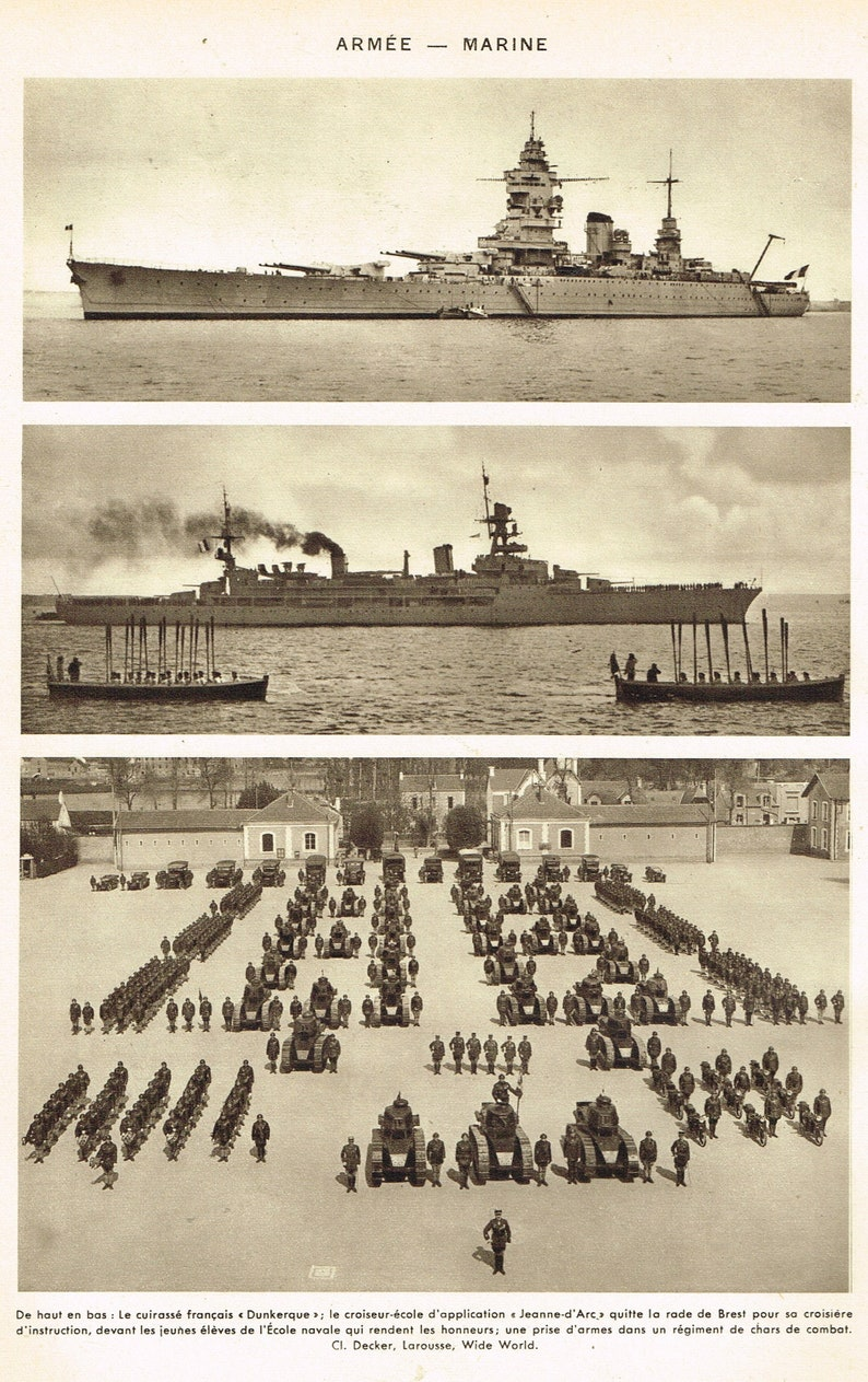 Ecole D Architecture De Brest french navy ships men machineslarousse encyclopaedia page, 1930s, original  maritime naval vessels seaphotographs sepîa parade