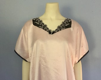 80s Pink Nightgown   1980s Lace Nightshirt   80's Sleep Tunic
