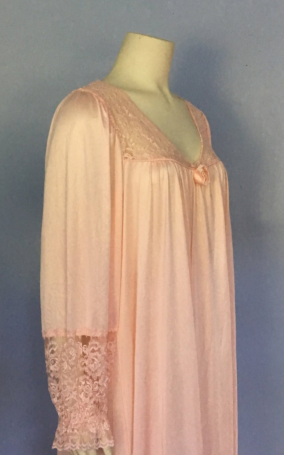 70's Val Mode Pink and Half Lace Sleeve Gown