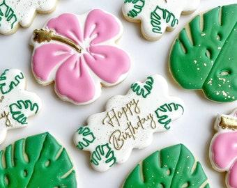 Tropical birthday sugar cookies, hibiscus palm leaf cookies