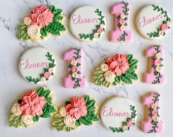 First birthday girl floral cookies, baby girl pink boho floral sugar cookies