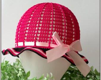 Pink summer hat, girls sun hat, crochet