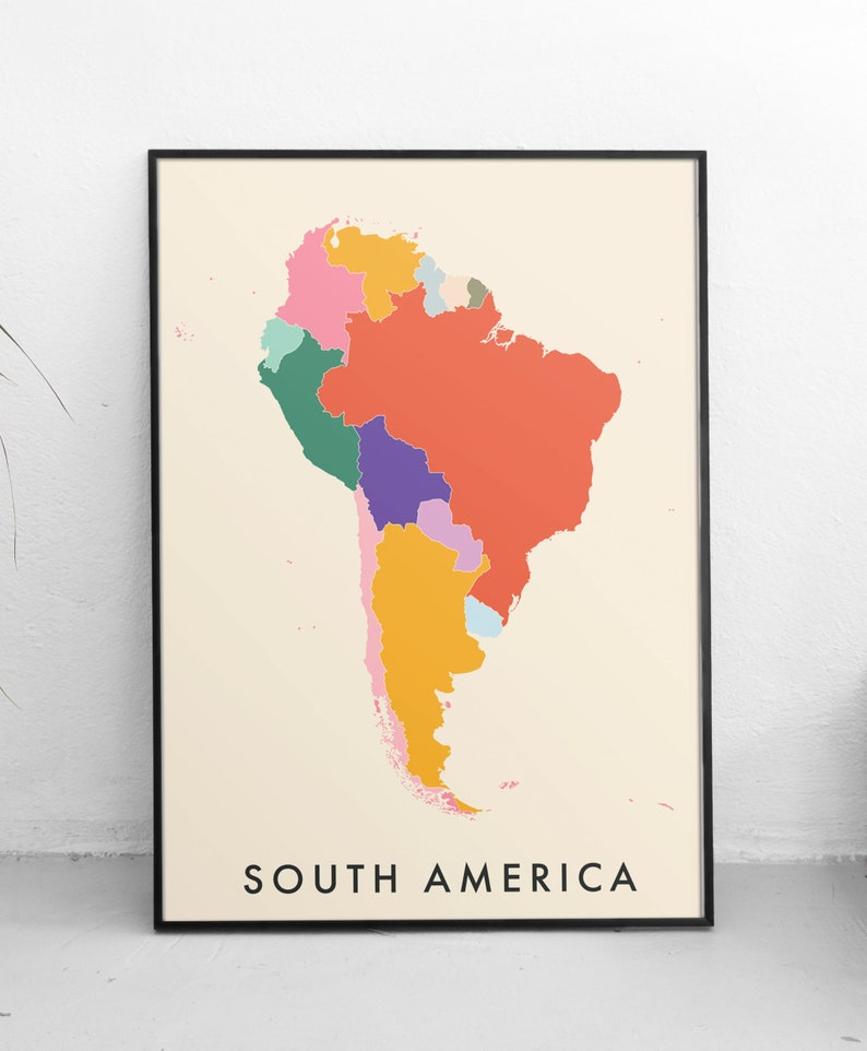 image about Printable Maps of South America titled South The united states Map Quick Obtain Artwork Print Revolutionary Clroom Map Print  Informative Homeschool Printable Maps Planet Map