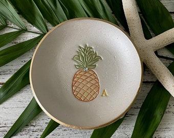 "PINEAPPLE Ring Dish   Coastal PERSONALIZED Trinket Bowl   Minimalist Beach Home Decor   4"" Custom Initial Bowl   Beach Wedding Favor"