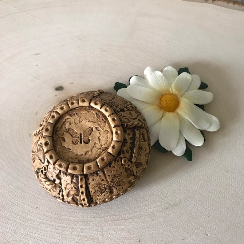 Floral Bridesmaid Gift Rustic Flower Ring Dish PERSONALIZED Ring Holder Garden Trinket Bowl Small Floral Jewelry Holder