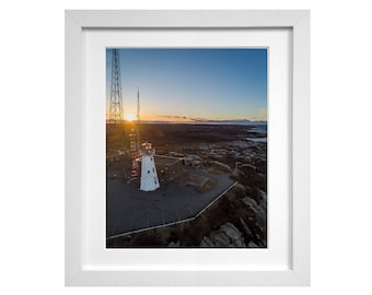 Chebucto Head Lighthouse - Fine Art Photography Print - Halifax NS, Ocean, Sunset, Seaside, Drone, Landscape