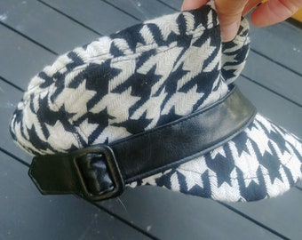 Hat Houndstooth Black and White VINTAGE 1960s Label Removed Wool with Satin Lining Black Band & Buckle Dutch Boy/Huck Finn Cap Dylanesque