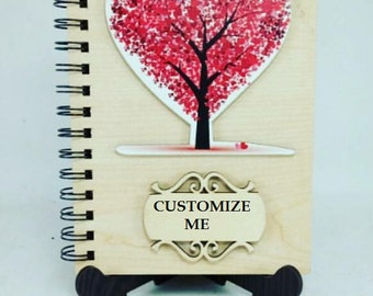 Customized wooden notebook, Custom, Gift, Personalized, Art, Handmade, Wooden, Natural