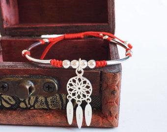 Lucky 925 Sterling Silver Dream Catcher Red Rope Bracelet Handmade