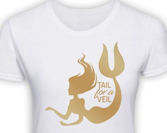 5fb4851530a2 Personalised Hen Party Original Design Mermaid Tail For A Veil T Shirt