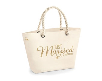cd5f1c5fd80 Personalised Beach Bag Tote Bag Large Cotton Canvas Rope Handle Just Married  Bride Hitched Gift Bag