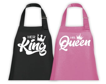 King and Queen Professional Chef's Apron Gift Present His and Hers Newly Weds Bride Groom Wedding Couples