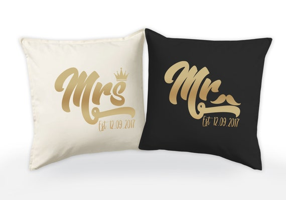 Mr and Mrs Personalised Alice in Wonderland Wedding Cushion Cover Gift Valentine