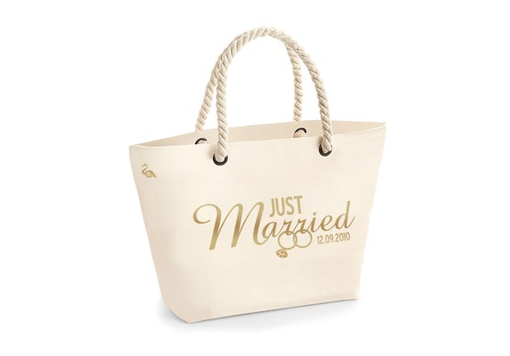 Personalised Just Married Bride Beach Tote Bag Large Cotton Canvas Rope Handle