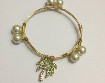 Tropical Palm- Wrapped Wire Bangle