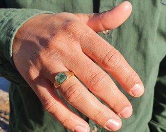 Emerald Signet Ring l Sterling Silver and Gold Vermeil