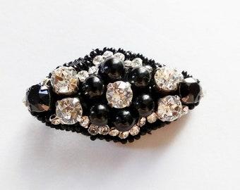 Brooch of Black Onyx and Swarovski Crystals