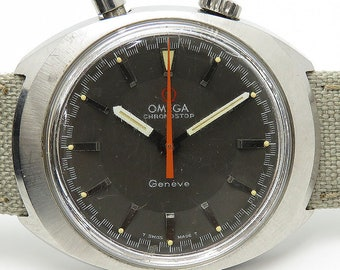 Omega Cronus Top 145.010 Watch Gray 1960's Manufacturers Drivers Watch Mens Handwriting Cal.865 Used Antique Vintage