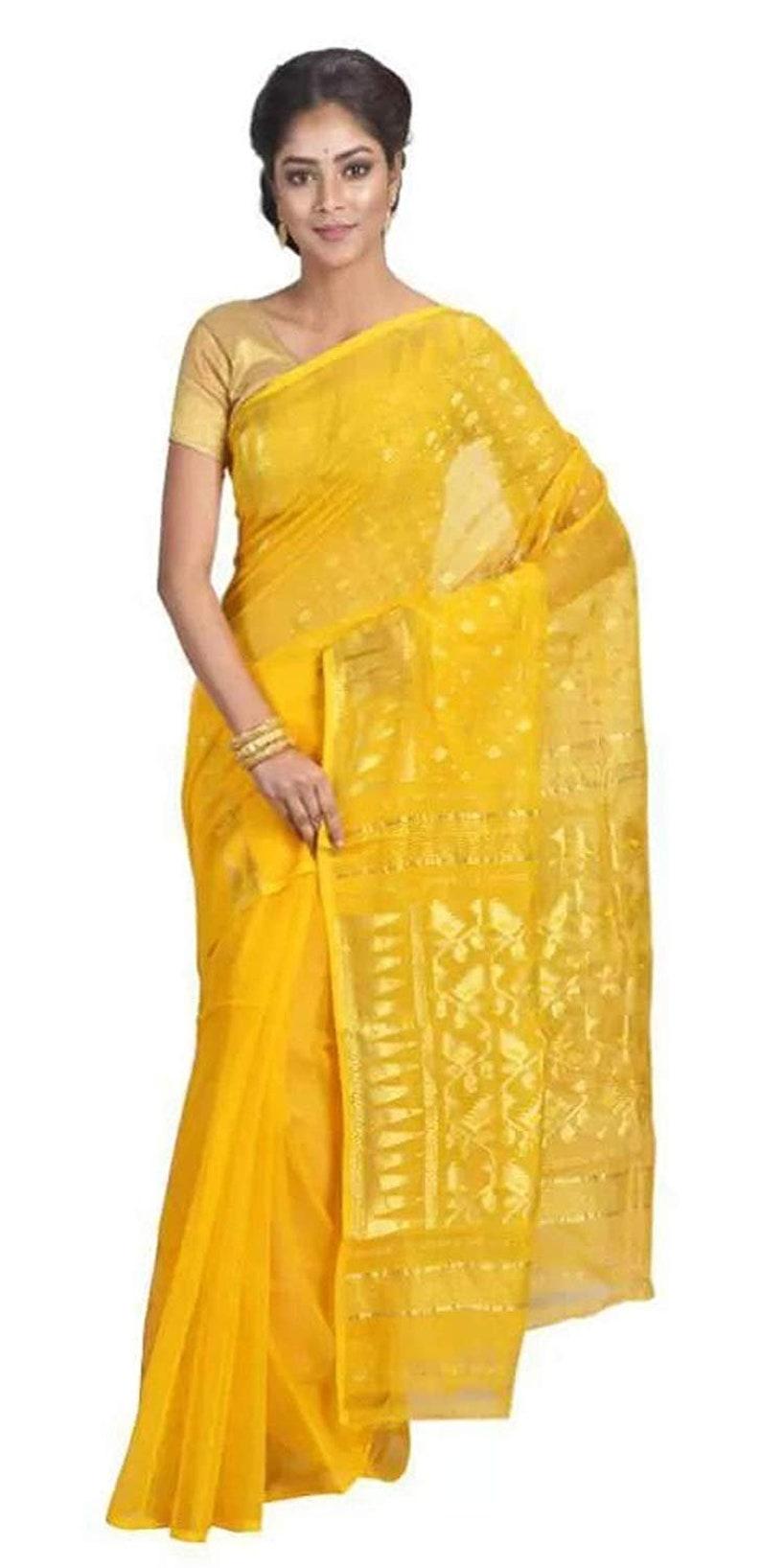 82dc709c1a9 Silk Muslin Jamdani Dhakai(Soft) - Original Bengal Handloom Saree  (Handcrafted)-Yellow