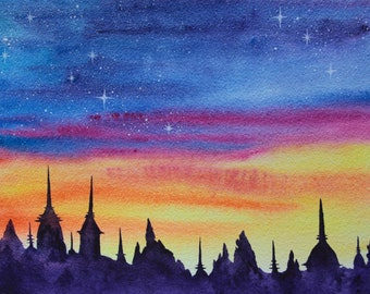 """Istanbul Painting City Landscape Original Art 9"""" x 12"""" Urban Skyline Watercolor by SpaceOleandrArt"""