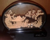 VINTAGE Asian Hand Carved CORK ART Box With Glass Dome Free Shipping In Great Vintage Condition