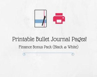 Bullet Journal Printable Finance Bonus Pack (Black & White)