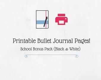 Bullet Journal Printable School Bonus Pack (Black & White)