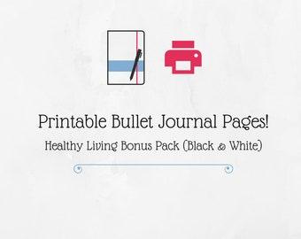 Bullet Journal Printable Healthy Living Bonus Pack (Black & White)