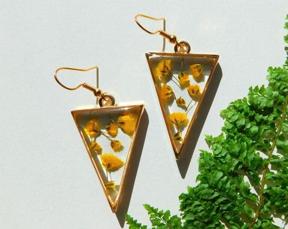 Gold Yellow Flower Petal Earrings