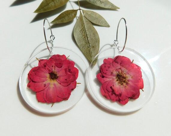 Red Rose Hoop Earrings