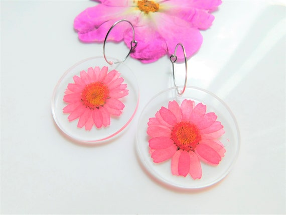 Pink Daisy Hoops