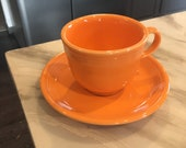 Fiesta Tangerine Orange Tea Cup And Saucer-Beautiful Condition-Great For Any Collection-Great Gift