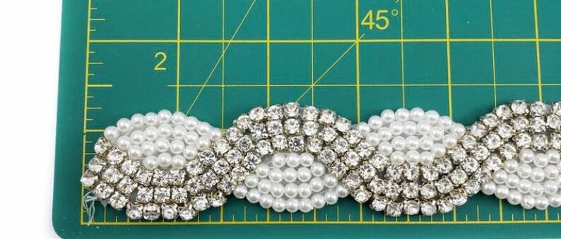 Crystal Rhinestone Trim by the yard, Wedding or Formal Rhinestone Flower Trim Silver Pearl Crystal Rhinestone Trimming