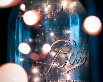 Mason Jar and Fairy Lights Photograph (Digital Download)