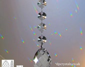 Hanging Mobile Crystal Suncatcher 50mm Pear Rainbow Prism Feng Shui with 4x 14mm Swarovski Octagons can also add to a Mobile or Wind Chime.