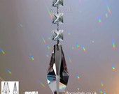 Hanging Crystal Suncatcher 63mm Arrow Rainbow Prism Feng Shui with 3x 14mm Full Lead Squares also use as a Mobile or add to a Wind Chime.