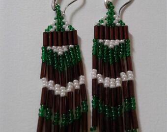 Green, Brown, White dangle earrings