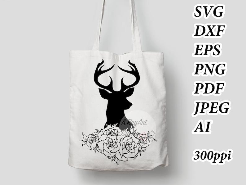 Deer Head SVG Deer SVG Deer Clipart Deer Head with flower Clipart Deer ai Hunting SVG Files Svg Files for Cricut Silhouette Animal ai #64