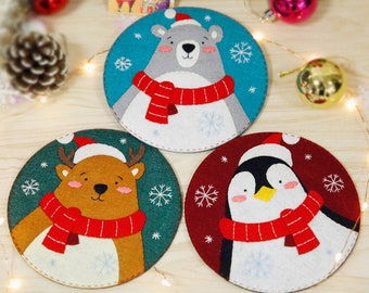 Cute Christmas Felt Coaster DIY