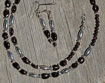 Garnet and silver necklace with matching earrings