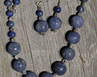 Necklace and Earrings - Lapis lazuli