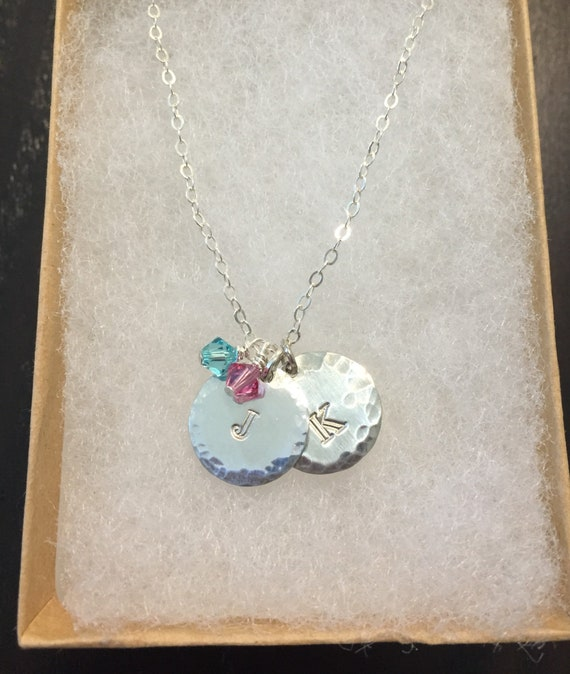 Letter Necklace In Sterling Silver With Swarovski Crystals And Alkeme Disks Custom Initial Necklace 12 Crystal Colors Available