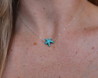 Turquoise Starfish Necklace in Sterling Silver