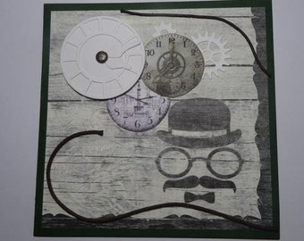 "Greting Card for Men ""Time and Mustache"" Handcrafted Item"