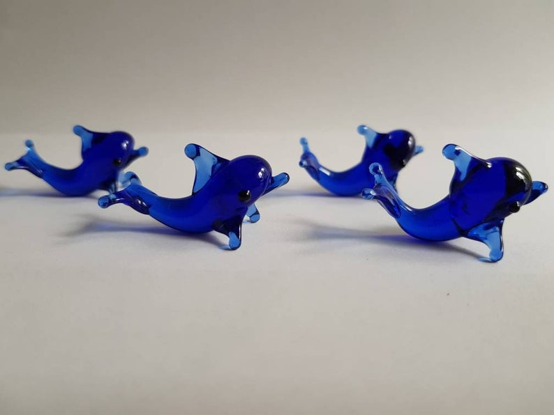 Miniscule Glass Animals Collectible Glass Dolphin Miniature Glass Figurines Doll House Figurines Hand Blown Glass Dolphin