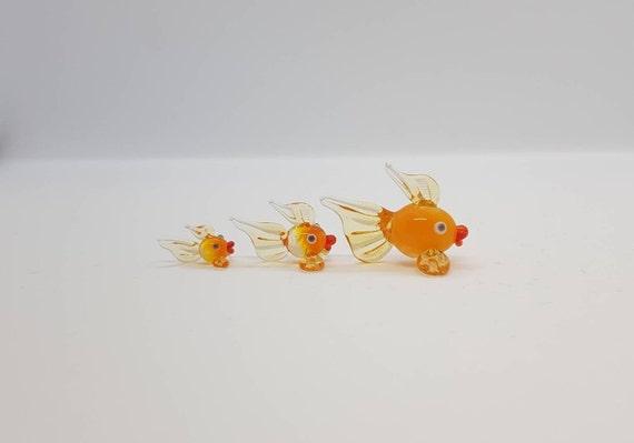 Miniature Glass Figurines Murano Glass Fishes Doll House Figurines Colorful Glass Fishes Glass Golden Fish