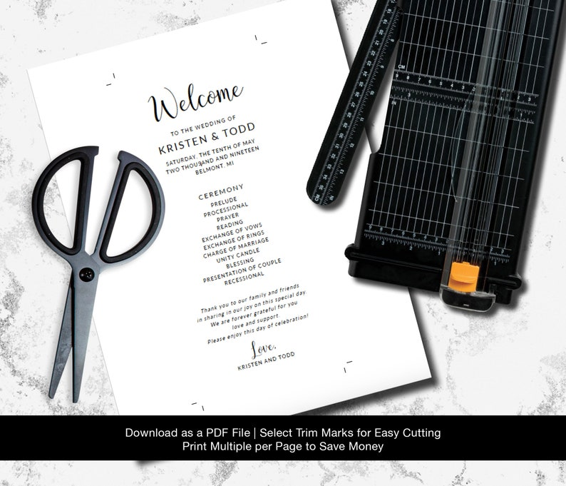 Printable Wedding Program Custom Wedding Program Instant Download Wedding Printable Elegant Wedding Program Template Digital Download